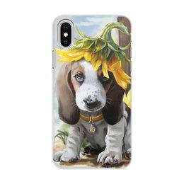 """Чехол для iPhone X, объёмная печать """"Собака"""" - цветок, животное, собака"""