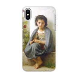 "Чехол для iPhone X/XS, объёмная печать ""Маленькая вязальщица (картина Вильяма Бугро)"" - картина, девочка, академизм, живопись, бугро"