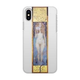 """Чехол для iPhone X, объёмная печать """"Голая правда (Nuda Veritas) (Густав Климт)"""" - живопись, климт, картина"""