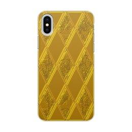 """Чехол для iPhone X/XS, объёмная печать """"Золотой ромб"""" - золото, классика, ромб"""