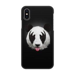 """Чехол для iPhone X, объёмная печать """"Панда """" - панда, медведь, черно-белое, мишка, фотография"""