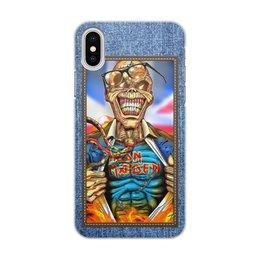 "Чехол для iPhone X/XS, объёмная печать ""Iron Maiden patch"" - heavy metal, рок музыка, рок группа, iron maiden, eddie"