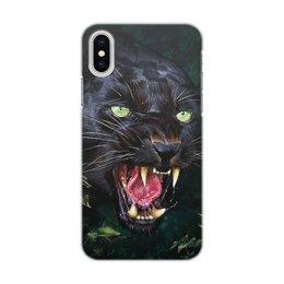 """Чехол для iPhone X/XS, объёмная печать """"ПАНТЕРА. ФЭНТЕЗИ"""" - стиль, яркость, пантера, оскал, ярость"""