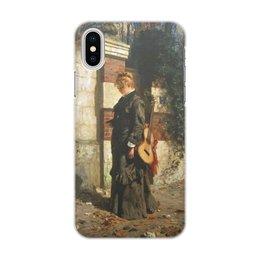 """Чехол для iPhone X/XS, объёмная печать """"Стрекоза («Лето красное пропела…»)"""" - девушка, гитара, картина, живопись, поленов"""