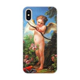 """Чехол для iPhone X/XS, объёмная печать """"Амур, стреляющий из лука (Шарль-Андре ван Лоо)"""" - ангел, картина, живопись, купидон, шарль-андре ван лоо"""