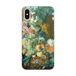 "Чехол для iPhone X/XS, объёмная печать ""Фрукты и цветы (Ян ван Хёйсум)"" - цветы, картина, живопись, натюрморт, ян ван хёйсум"