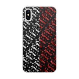 "Чехол для iPhone X/XS, объёмная печать ""Supreme"" - узор, надписи, бренд, supreme, суприм"