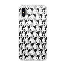"""Чехол для iPhone X/XS, объёмная печать """"ЪУЪ ЪУЪ"""" - мемы, черный кот, cursed cat, мем с котом, ъуъ съука"""