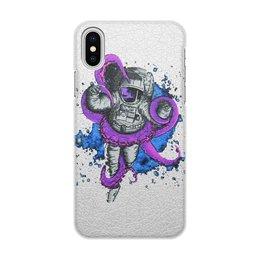 """Чехол для iPhone X/XS, объёмная печать """"Космонавт"""" - осьминог, космонавт"""
