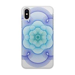 """Чехол для iPhone X/XS, объёмная печать """"Зелено-синий узор в технике гильош"""" - узор, абстракция, геометрия, гильош"""