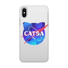 """Чехол для iPhone X/XS, объёмная печать """"Catsa"""" - cat, космос, nasa, наса, catsa"""