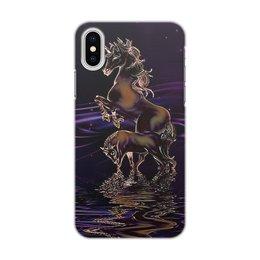 """Чехол для iPhone X/XS, объёмная печать """"ЕДИНОРОГ"""" - стиль, ночь, вода, фэнтези, единороги"""