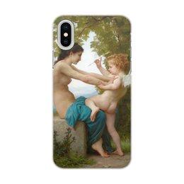 """Чехол для iPhone X/XS, объёмная печать """"Девушка, пытающаяся защититься от стрелы Эроса"""" - картина, живопись, купидон, амур, бугро"""