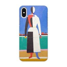 """Чехол для iPhone X/XS, объёмная печать """"Женщина с граблями (картина Малевича)"""" - картина, живопись, супрематизм, абстракционизм, малевич"""