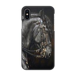 """Чехол для iPhone X/XS, объёмная печать """"Гладиаторский конь-2"""" - лошадь, огонь, поздравление, конь, фото лошади"""