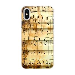 """Чехол для iPhone X/XS, объёмная печать """"Мелодия"""" - музыка, ноты, песня, мелодия, газета"""