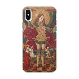"""Чехол для iPhone X, объёмная печать """"Святой Михаил взвешивает души"""" - абадия, живопись, картина"""
