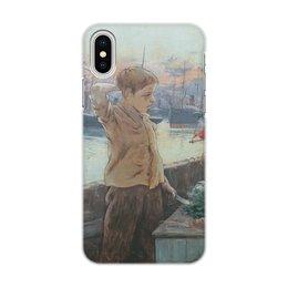 """Чехол для iPhone X/XS, объёмная печать """"Юнга (Адольфо Гиард)"""" - картина, импрессионизм, живопись, флот, гиард"""