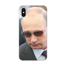"""Чехол для iPhone X/XS, объёмная печать """"ПУТИН. ПОЛИТИКА"""" - арт, стиль, очки, россия, президент"""