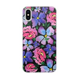 """Чехол для iPhone X/XS, объёмная печать """"цветочки"""" - лето, цветы, узор, природа, цветочки"""