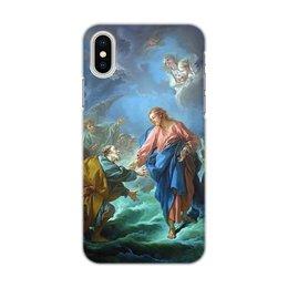 """Чехол для iPhone X, объёмная печать """"Святой Петр, пробующий идти по воде"""" - франсуа буше, живопись, иисус, картина"""