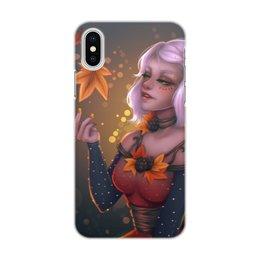 """Чехол для iPhone X/XS, объёмная печать """"Осеннее настроение"""" - арт, девушка, осень"""