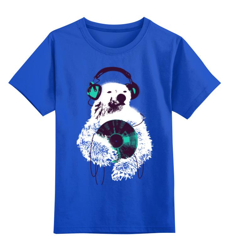 Детская футболка классическая унисекс Printio Медведь диджей monitor 19