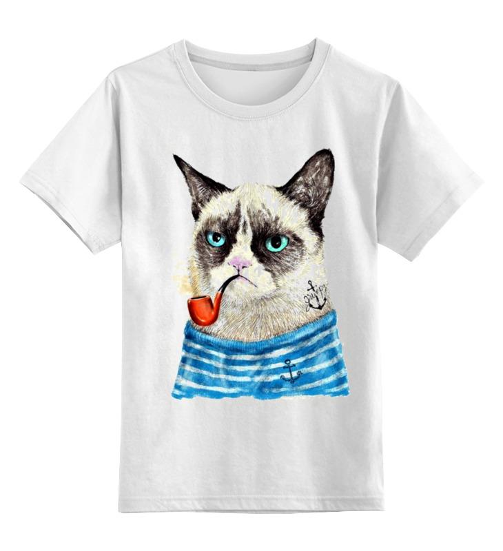Детская футболка классическая унисекс Printio Грустный кот детская футболка классическая унисекс printio абстрактный кот