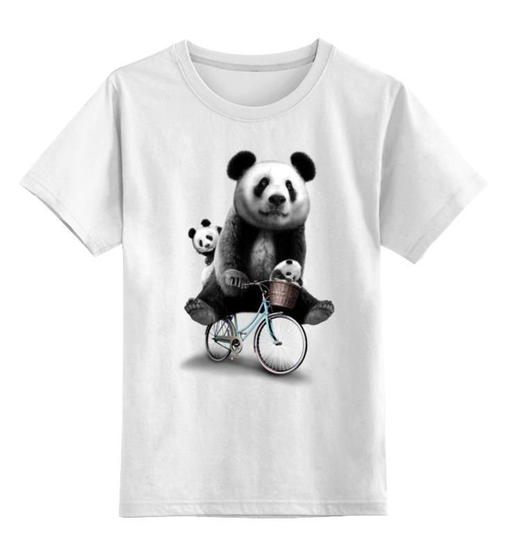 все цены на Детская футболка классическая унисекс Printio Панда на велосипеде онлайн
