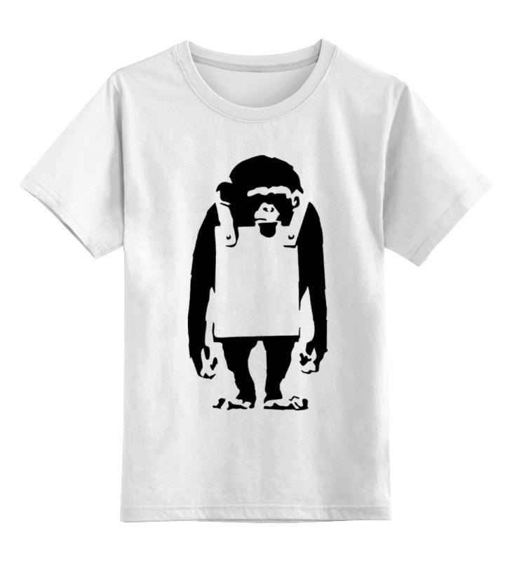 Детская футболка классическая унисекс Printio Шимпанзе с рекламным щитом чехол для iphone 5 глянцевый с полной запечаткой printio шимпанзе с рекламным щитом