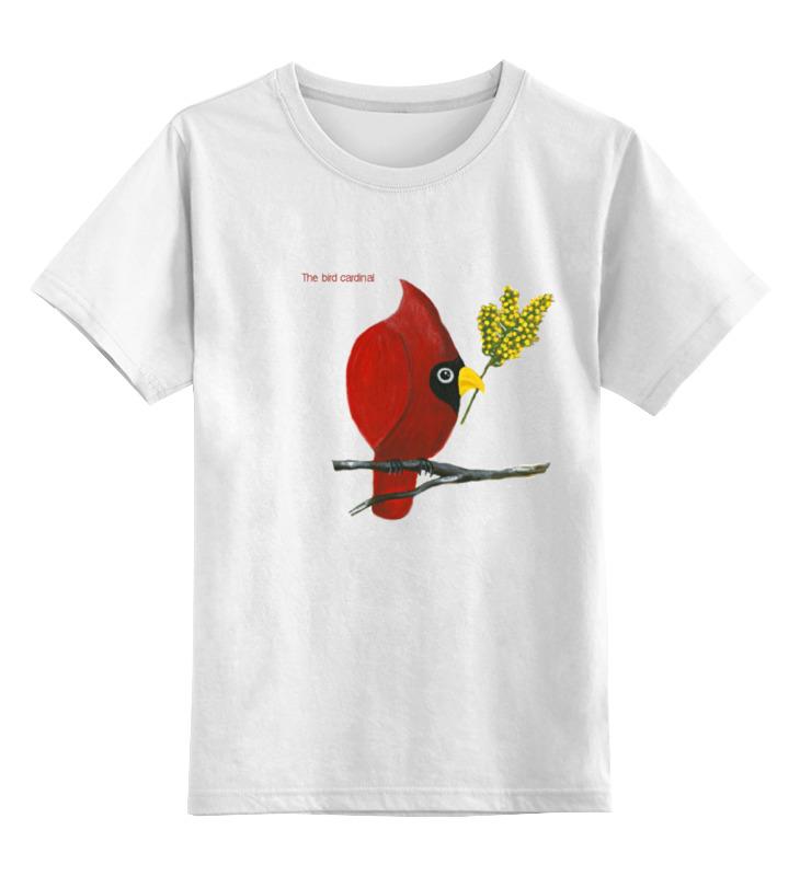 Детская футболка классическая унисекс Printio Птица кардинал с мимозой текстиль для дома