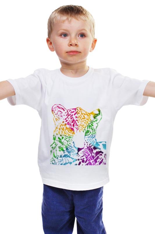 Детская футболка классическая унисекс Printio Радужный леопард