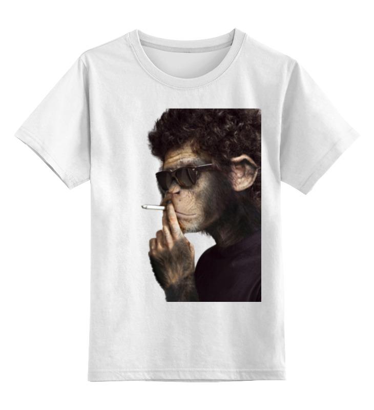 Детская футболка классическая унисекс Printio Обезьяна курильщик