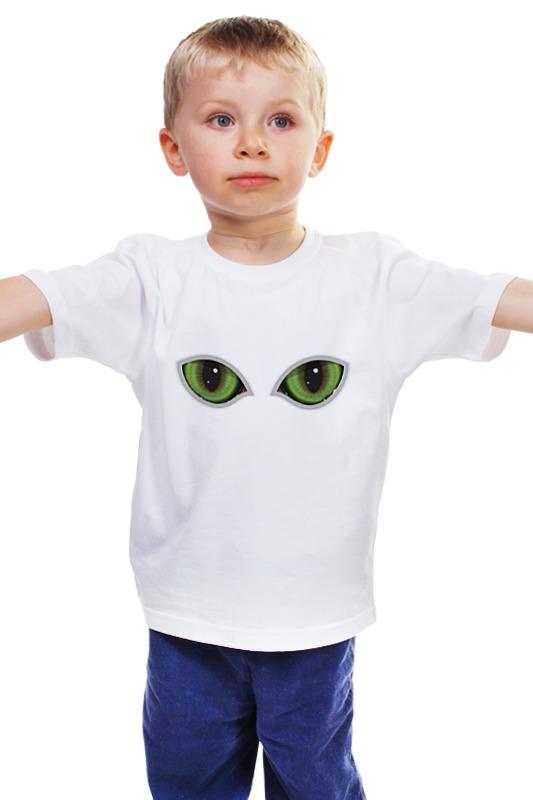 Детская футболка классическая унисекс Printio Глаза кота сквозь прорезь смотрят падение сквозь ветер