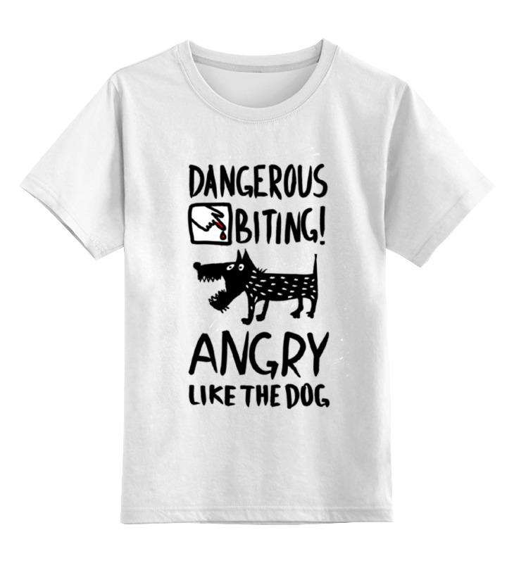 Детская футболка классическая унисекс Printio Статус: злой, как собака! табличка на стол осторожно злой продавец не беспокоить 816428