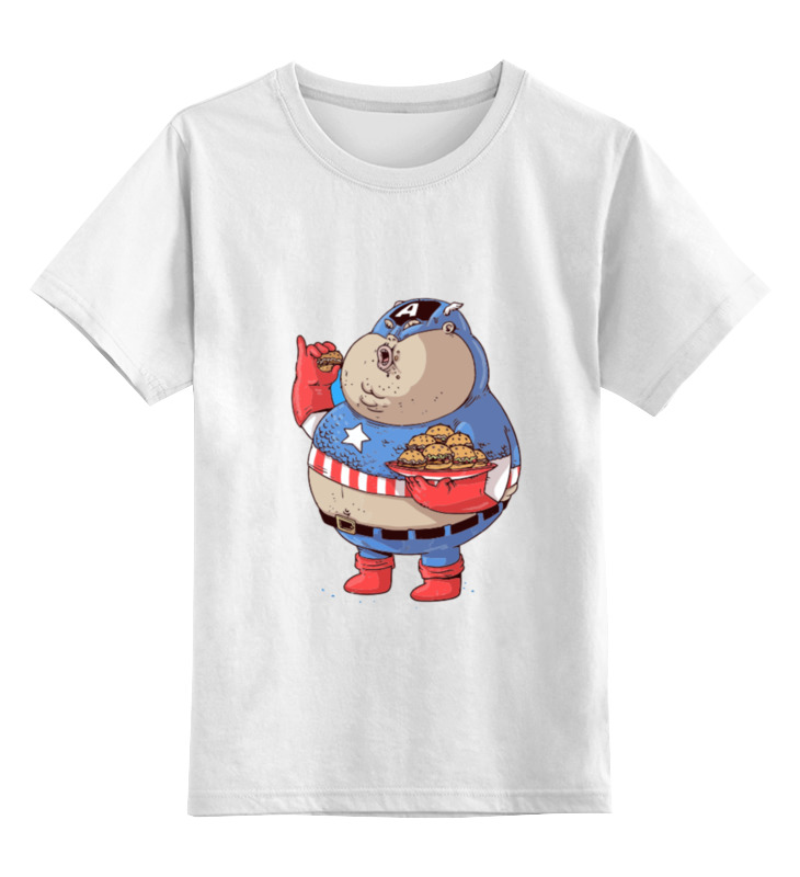 Детская футболка классическая унисекс Printio Fat captain america футболка классическая printio капитан америка captain america