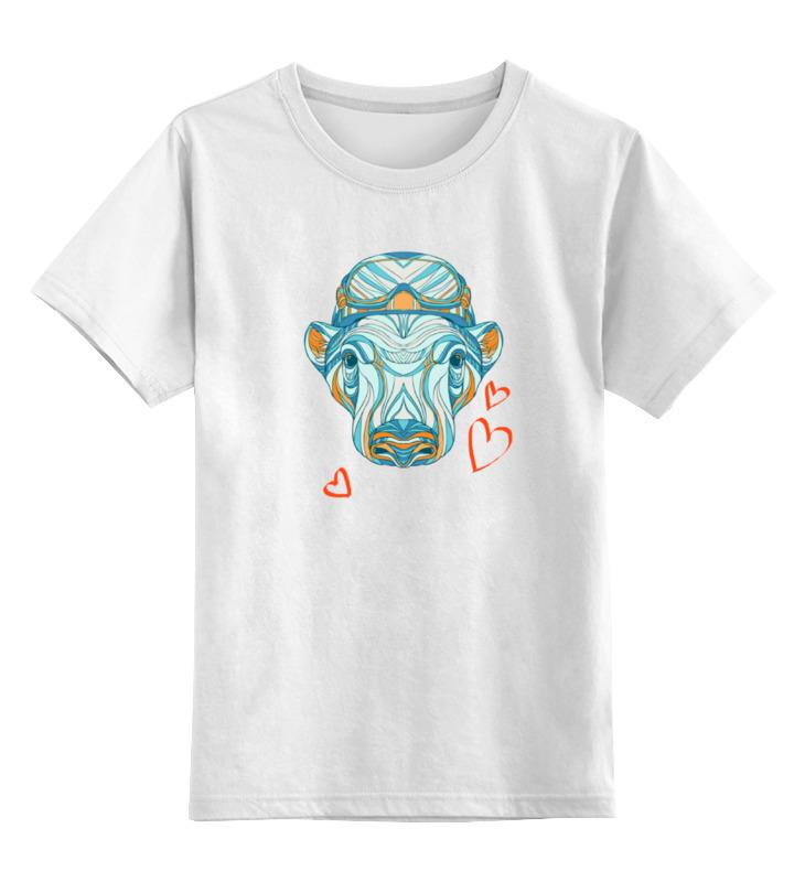Детская футболка классическая унисекс Printio Медведь сноубордист