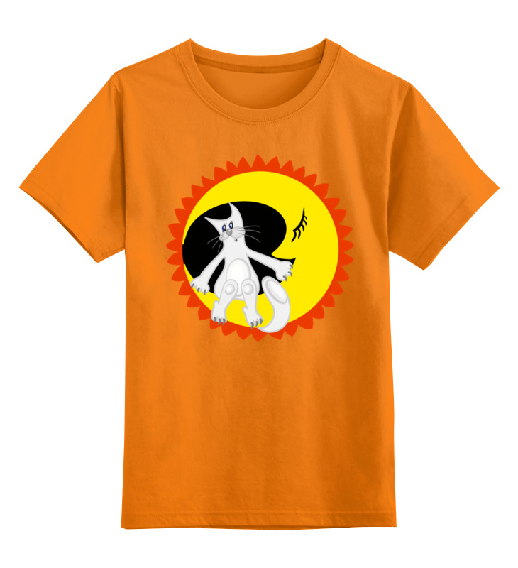 Детская футболка классическая унисекс Printio Лунный кот сидит на луне