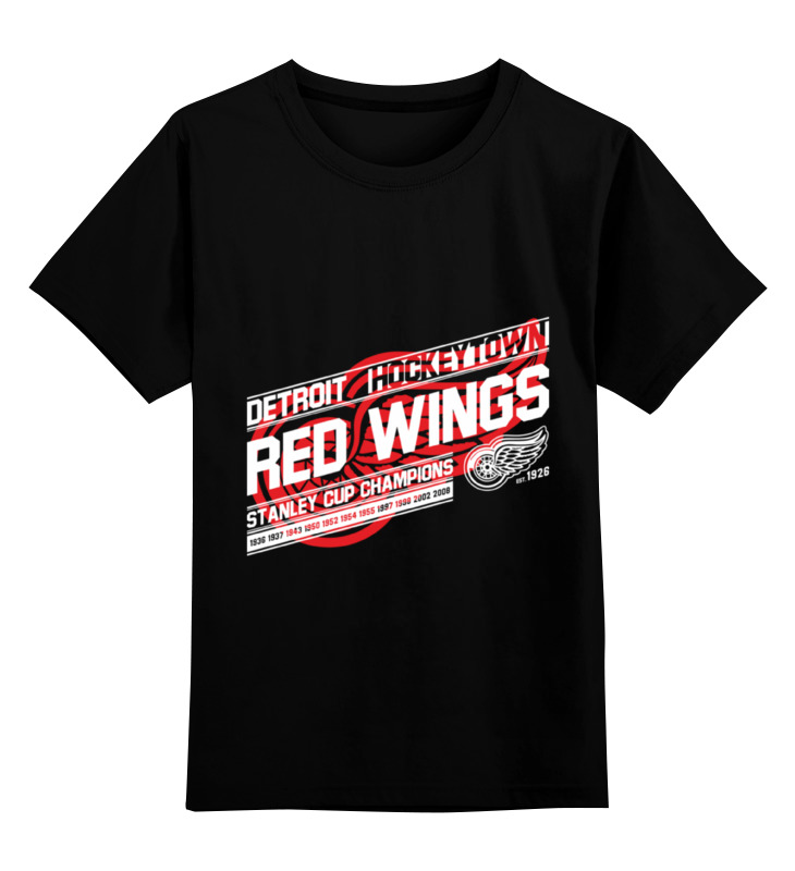 Детская футболка классическая унисекс Printio Detroit red wings equte spew11c3 vintage red heart style angel wings necklace bronze red 17 chain