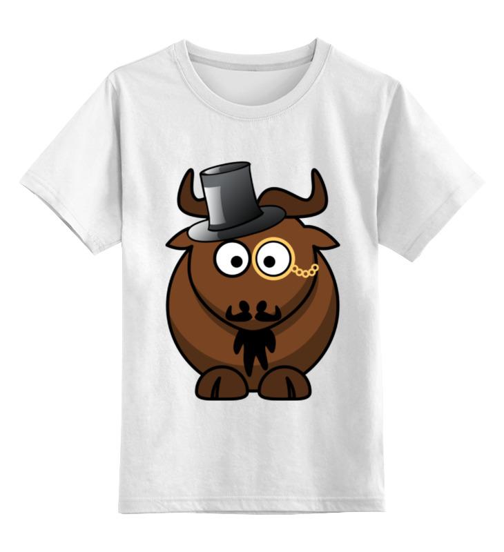 Детская футболка классическая унисекс Printio Интилегентный бык