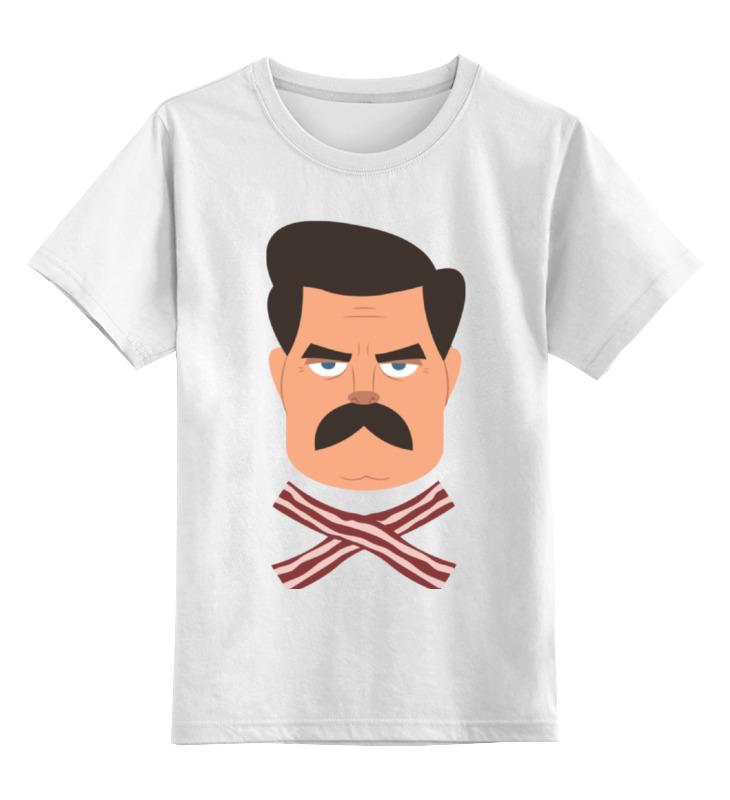 Детская футболка классическая унисекс Printio Рон свонсон (бекон) цена и фото