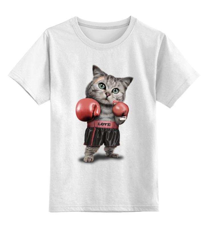 Детская футболка классическая унисекс Printio Кот боксёр цена и фото