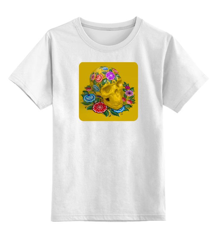 Детская футболка классическая унисекс Printio Череп (городецкая роспись) детская футболка классическая унисекс printio череп городецкая роспись