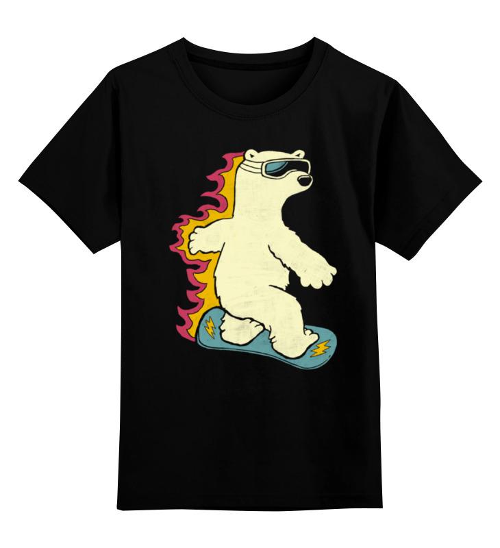 Детская футболка классическая унисекс Printio Медведь на сноуборде