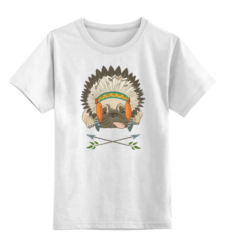 Детская футболка классическая унисекс Printio Мопс - индеец цена и фото