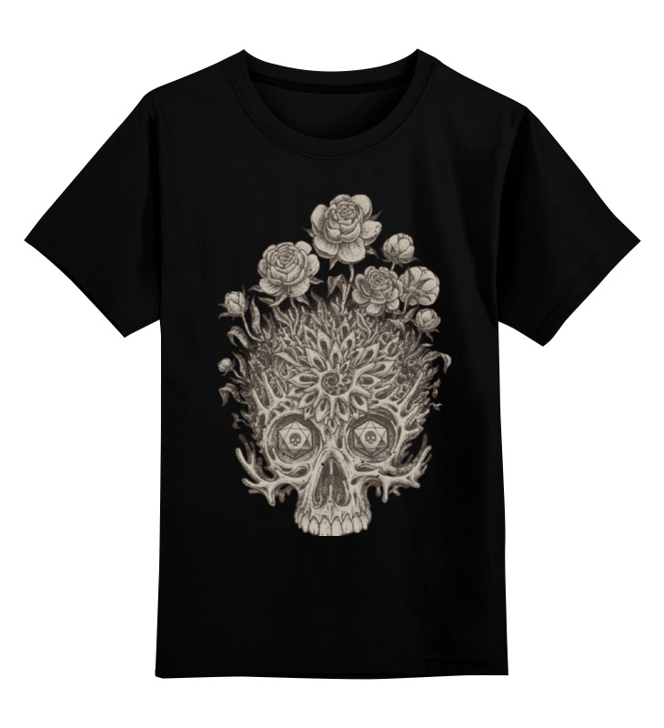 Детская футболка классическая унисекс Printio Цветочный череп