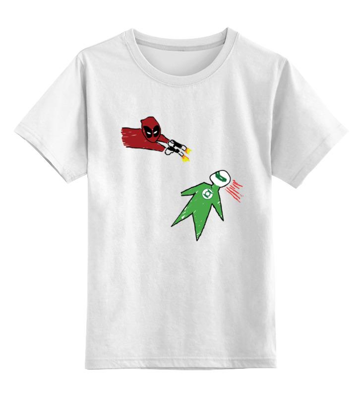 Детская футболка классическая унисекс Printio Дэдпул и зеленый фонарь gangxun зеленый цвет