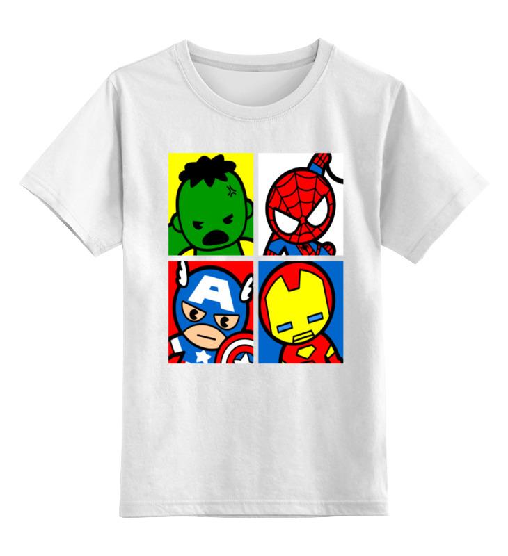 Детская футболка классическая унисекс Printio Мстители капитан америка удивительный человек паук 2 железный человек перчатки мультфильм детей игрушки передатчик