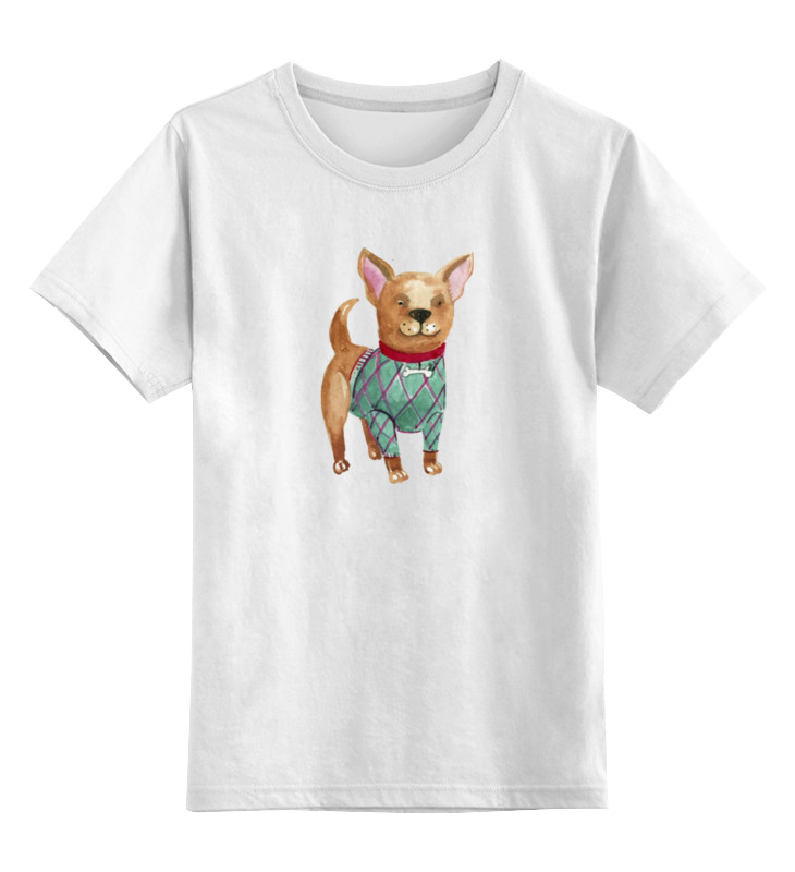 Детская футболка классическая унисекс Printio Акварельная собачка