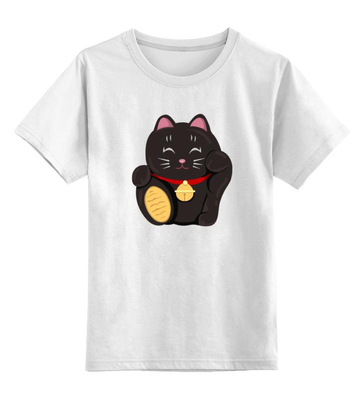 Детская футболка классическая унисекс Printio Черный кот (манэки-нэко) россия скульптура кот гармонист